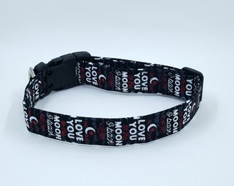 Love you to the Moon and Back on Black Dog Collar