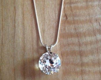 Round Brilliant Cut Quartz Crystal in Sterling Silver Setting 11.47ct