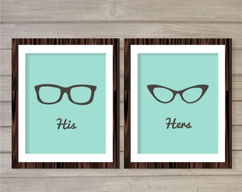 His and Hers Glasses Sign Printable Wall Art Turquoise Blue Set of2 -8x10- Instant Download Dressing Rest Room Sign Digital Print Home Decor