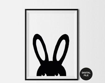 Bunny Illustration Children's Art Print, Digital Download,Printable Poster Black & White Rabbit Nursery Wall Art, woodland Modern Kids Print