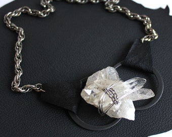 Raw Crystal Geode Lita Rock Handcuff Necklace