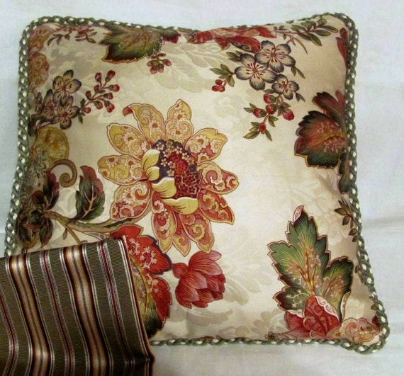 French Country Romantic Cottage Pillow Ivory Sage Green Coral