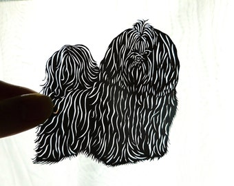 Original Shih Tzu Framed Paper Cutting, Scherenschnitte, Dog Art, Pet Portrait