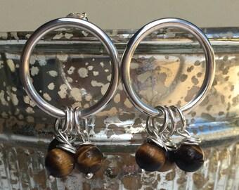 Sterling Silver Hoop Earrings, Small Silver Hoop and 6mm Tiger's Eye Gemstones, Post Fixings