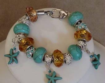 Children's European Bracelets, Charms Bracelets, Girls Charm Bracelets, 3Options, Starfish, Sugar Skull and Pearls, Purple, Turquoise, Blue