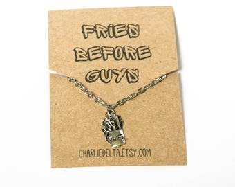 Fries before guys friendship necklace - french fries necklaces - fast food - friendship jewellery - friendship gift - friendship necklace