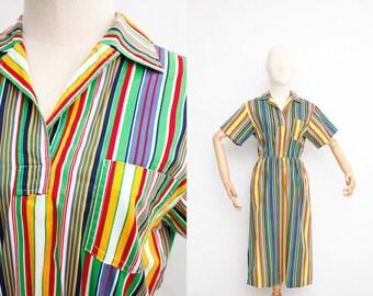 Vintage 90s Dress | Vintage Gay Gibson Dress | Cotton Collared Dress | Multicolor Stripes | Summer Day Dress | Shirt Dress |