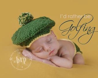 Little Golfer Hat and Diaper Cover/ Golfer Newborn Prop/Driver Cap