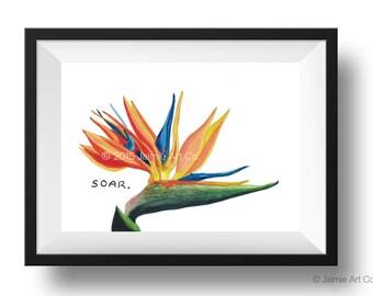 Bird of Paradise Art Print, Floral Art, Watercolor Illustration, Childrens Art, Nursery Wall Art, Kids Wall Art, Wall Decor, Frameable Art