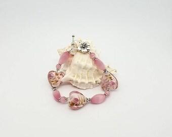 Roses, Lampwork Glass Hearts, Pink Cats Eye, Flower Beaded Bracelet, Mothers Day Bracelet, Lovers, Birthday, Romantic, Elegant, Swarovski