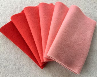"""Hand Dyed Felted Wool Gradation, POPPY, Value Gradient in Scarlet Red and Salmon Pink Tones, 6 pcs. 6.5"""" x 16"""" Each"""