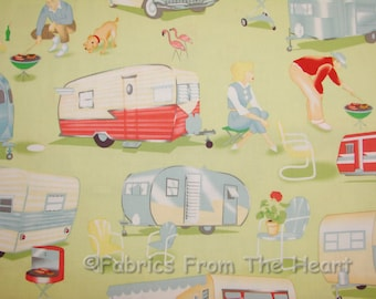 Travel Trailer Vintage Camping on Green BY YARDS Michael Miller Cotton Fabric