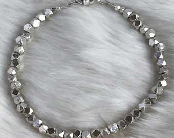 3.5mm Karen Hill Tribe faceted sterling silver bracelet with magnetic clasp