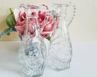 Vintage Cruet Set | Glass Cruet Set | Pressed Glass Pitcher | Cruet Bottles | Vintage Salad Dressing | Mid Century Pressed Glass