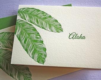 Banana Leaves Letterpress Card Set Aloha Mahalo Forest Green