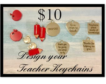 Teacher Keychains, choose your charm and choice of pencil or apple