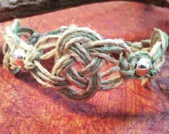 Sterling Silver Dusty Olive Celtic Knot Custom fitted Hemp Bracelet - Rough Hemp Jewelry - Organic Bead Hemp Bracelet - Green Cuff Bracelet
