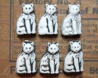 Vintage Cat Beads Czechoslovakia Molded Glass 6 Pieces