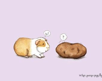 Pleased to meet you - Guinea pig with potato art print