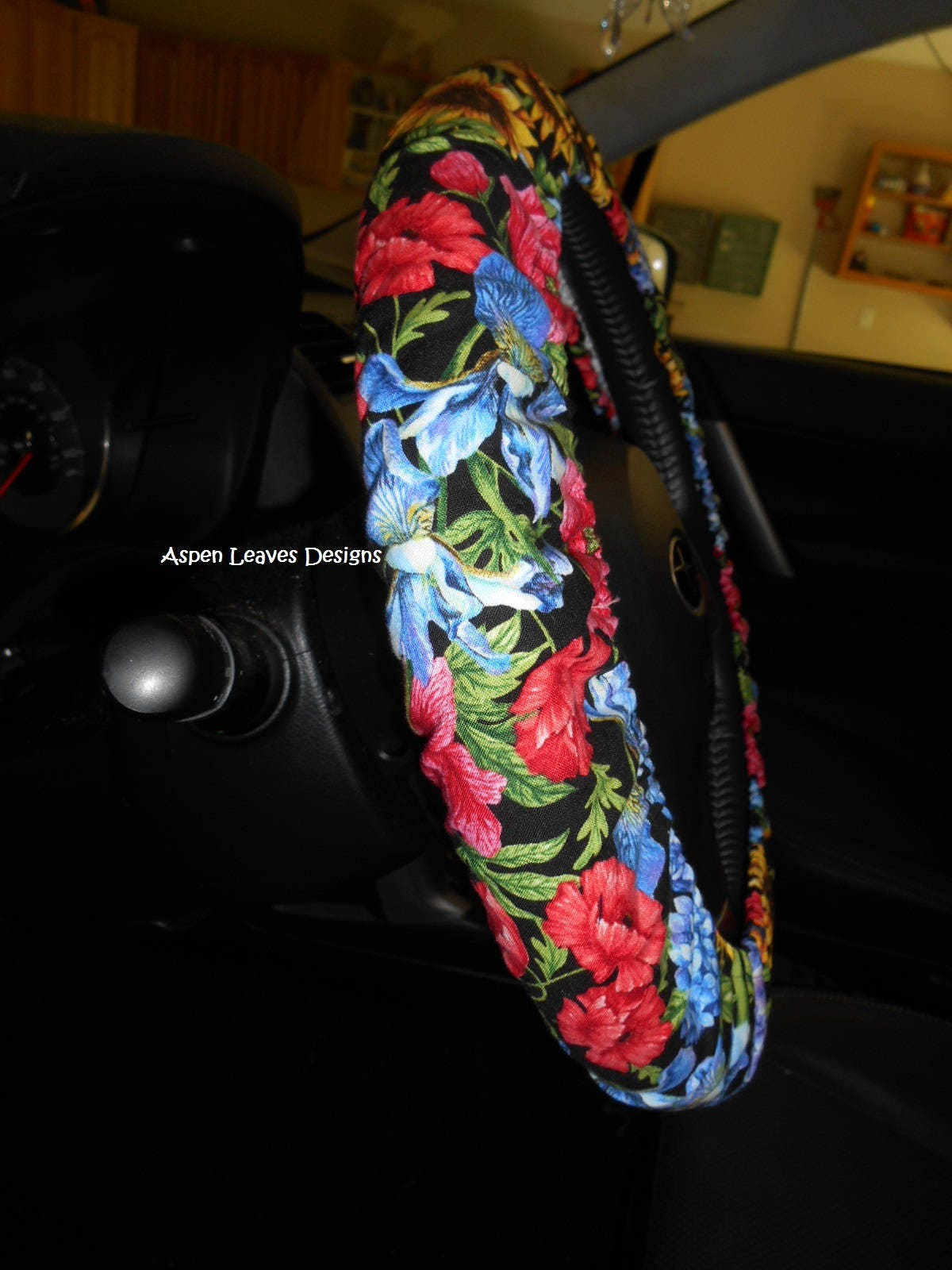 spring bouquet steering wheel cover iris pansies sunflowers seat belt cover and key fob. Black Bedroom Furniture Sets. Home Design Ideas