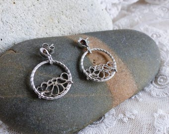 925 sterling silver ladies earrings rhodium plated circles and flowers