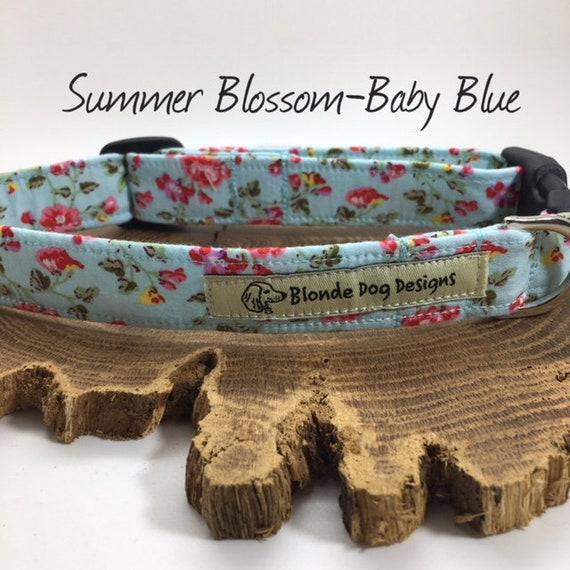 Floral Dog Collar, or, Floral Dog Lead, Summer Blossom Baby Blue, Pretty Dog Collar, Luxury Dog Collar, Luxury Dog Lead.