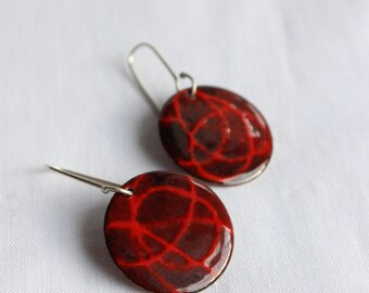 Stencil  earrings, Red and black enamels, Sterling silver and copper, Disc earrings