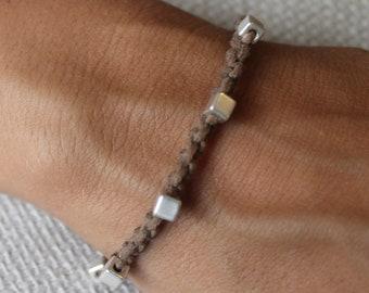 Bracelet Colo 09 Silver Cotton Cord  Handmade (B109SV-C)