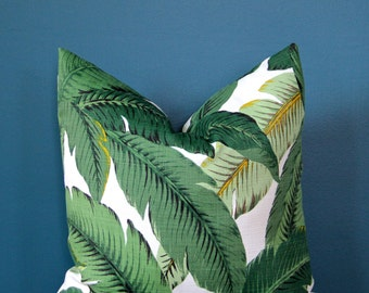 Outdoor Pillow Cover - Tropical Pillow Cover - Palm Leaf Pillow Cover - Island Decor - Swaying Palm Pillow - Banana Leaf - Hollywood Miami