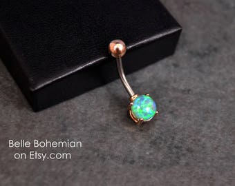 Belly Button Ring - Opal - Rose Gold - Green Opal - Opal Belly Button Ring - Opal Belly Jewelry - 14G - Surgical Steel - Opal Navel Ring