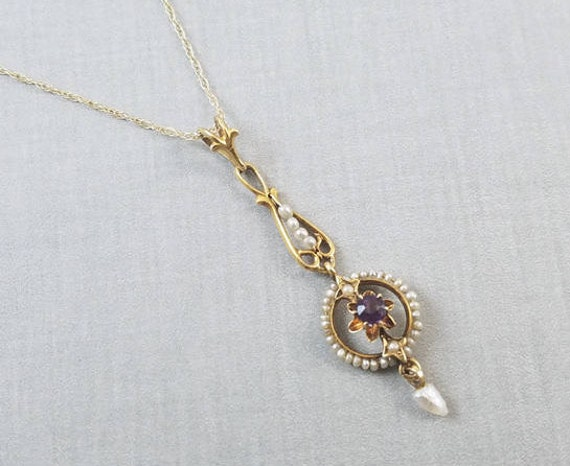 Antique Edwardian 10K gold purple amethyst and seed pearl halo long drop lavalier pendant necklace