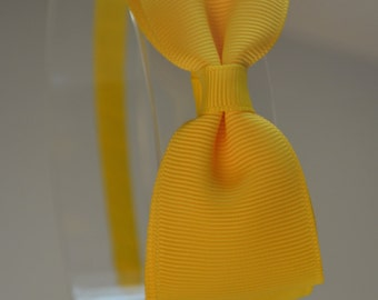 Yellow Bow Headband, Little Girl / Big Girl Hard Headband, Yellow Bow Headband,Girls Headband
