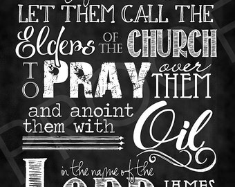 Scripture Art - James 5:14 Chalkboard Style