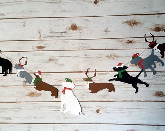 Holiday Dog Garland with Santa hats, Elf Hats, & Reindeer Antlers