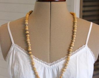 long Bohemian chic wooden beads
