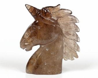 "4.21""Natural Smoky Quartz Crystal Hand Carved Unicorn ,Crystal Unicorn,Crystal Unicorn Head, Reiki  Chakras H010"