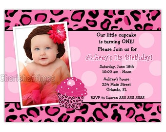 Cupcake Pink Leopard Photo Card Invitation (You Print)