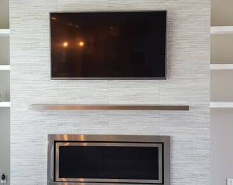 Solid hairline stainless (0,8 mm)laminated floating shelf, fireplace stainless steel shelf