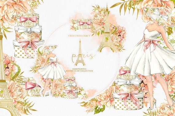Paris Clipart Eiffel Tower French Fashion Watercolor Floral Illustration Chic Romantic Peach Coral Peonies DIY Pack Bridal Shower