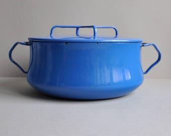 """Dansk Blue Kobenstyle Enamel Pot 8 1/2"""" - 2 1/2 Quart"""