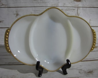 Milk Glass with Gold Beaded Trim Divided Relish Tray~ Anchor Hocking Fire King Milk Glass Server~Three Part Tray Gold Bead