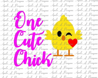 One Cute Chick, Easter, SVG, DXF, PDF
