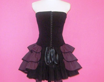 SALE Steampunk Skirt Bustle Plum Purple Cotton and Black Lace Ready to Ship