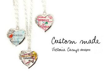 Custom Map Jewelry, Silver Heart Locket, Personalized Map Jewelry, Map Locket, Sterling Silver Chain, Paper Anniversary