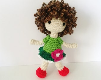 Crochet Doll / Amigurumi Stuffed Girl Doll Toy / Green