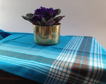 Vintage Finnish Table Cloth Plaid Table Cloth By Finlayson Checkered Table  Cloth Square Plaid Table Cloth Blue Brown Plaid