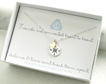 Best Friend Gift • Compass Necklace • Friendship Necklace • Going Away Gift • Compass Charm • BFF Gift • Long Distance Friends • Travel
