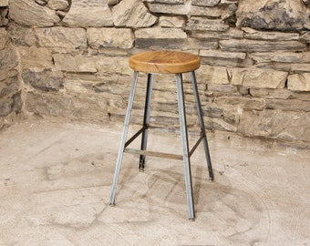 FREE SHIPPING - Basic Brew Industrial Bar Stool from Reclaimed Barnwood