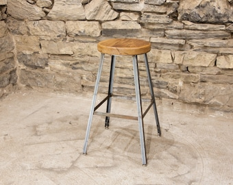 FREE SHIPPING   Basic Brew Industrial Bar Stool From Reclaimed Barnwood