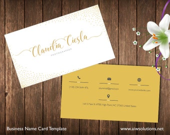 Fashion Business Card Template, Name Card Template, Photography name card, simple individual business card, minimal business card